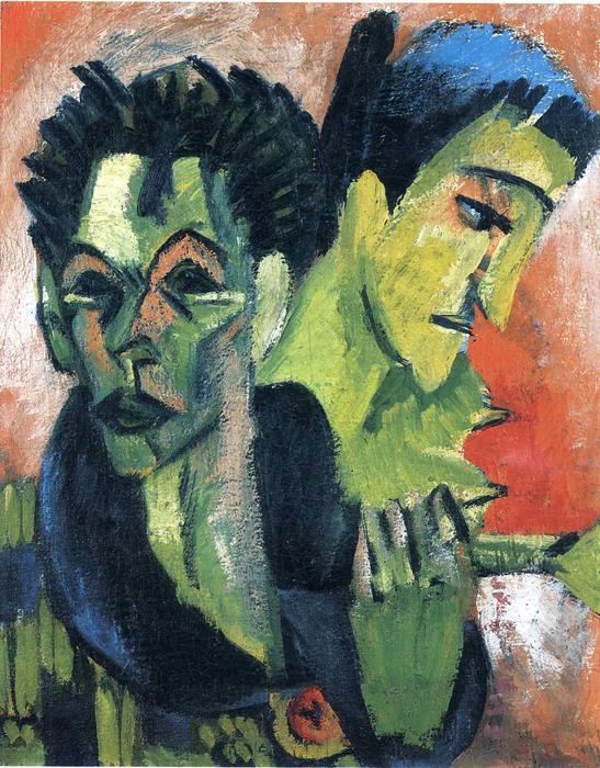 Douple Self-Portrait バイ Ernst Ludwig Kirchner (1880-1938, Germany)