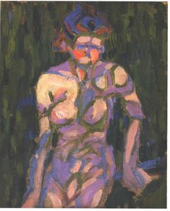 Ernst Ludwig Kirchner - 女性 裸体 と一緒に の影 a 小枝