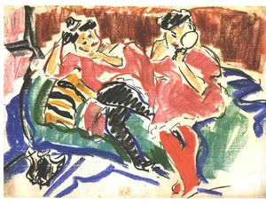 Ernst Ludwig Kirchner - 二つ 女性たち で `couch`
