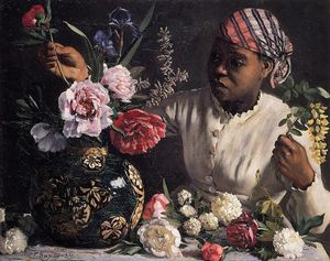 Jean Frederic Bazille - シャクヤクと黒人の女性