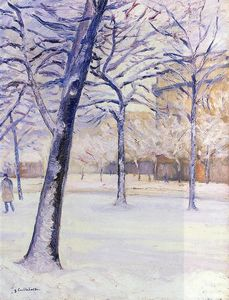 Gustave Caillebotte - 公園 教会に 雪