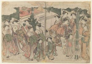 Kitagawa Utamaro - 新しいYear`s祭Courtesan`s Entourageで