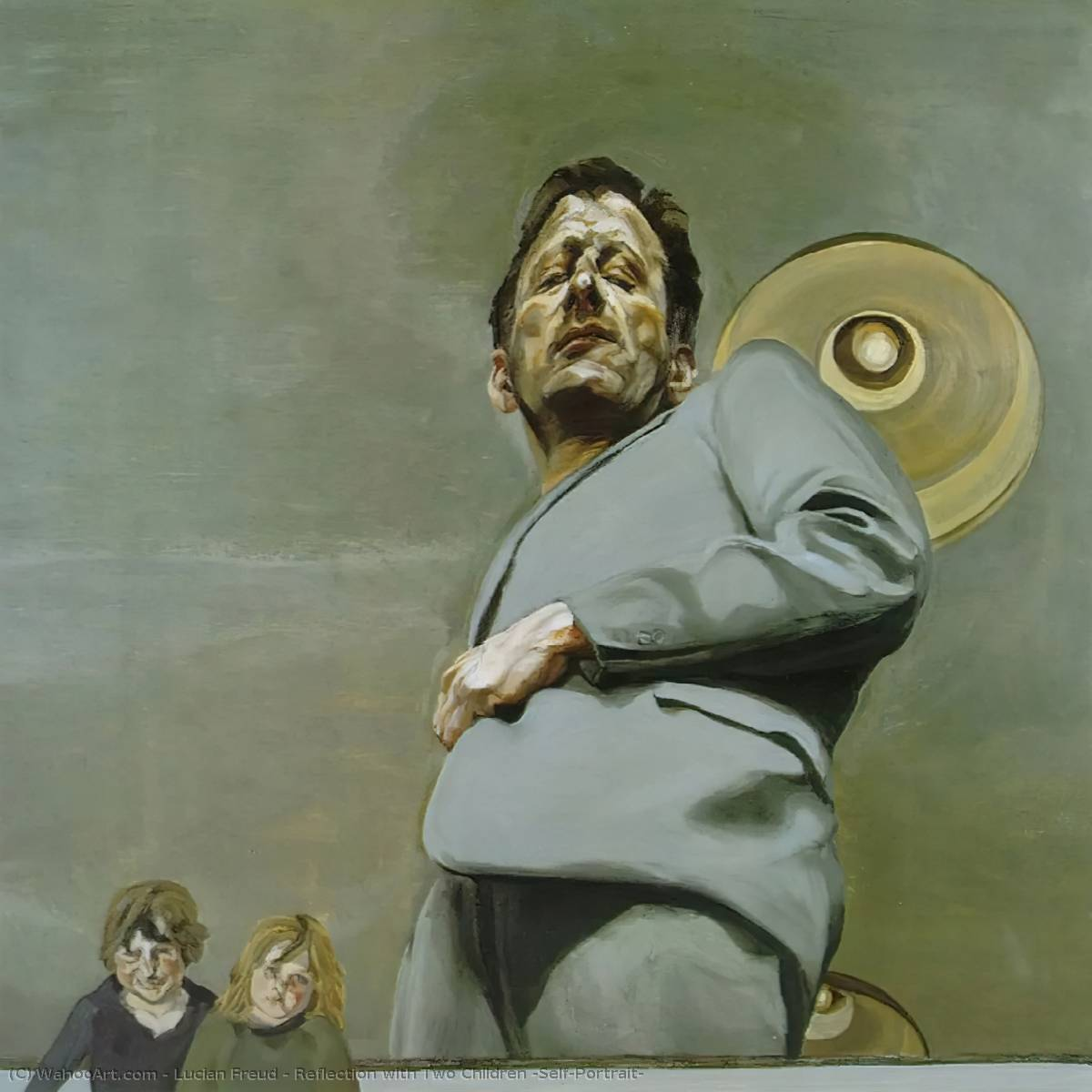 2人の子供との反射 ( Self-Portrait ), 1965 バイ Lucian Freud (1922-2011, Germany) |  | WahooArt.com