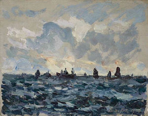 Maxime Emile Louis Maufra - フィッシング イワシ ボート
