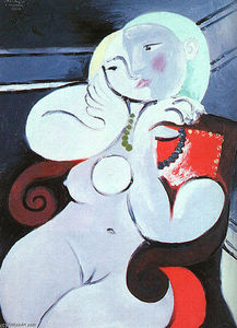 Pablo Picasso - 女性 裸体 座っている  インチ  赤  アームチェア