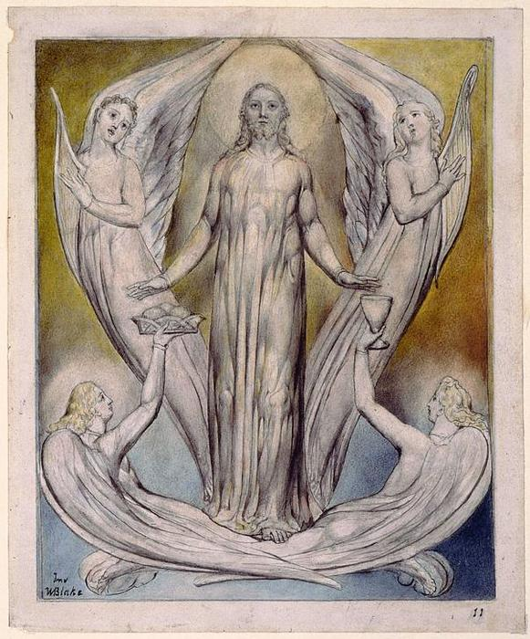キリストに仕える天使, 1820 バイ William Blake (1757-1827, United Kingdom) | 「アート再現 William Blake | WahooArt.com