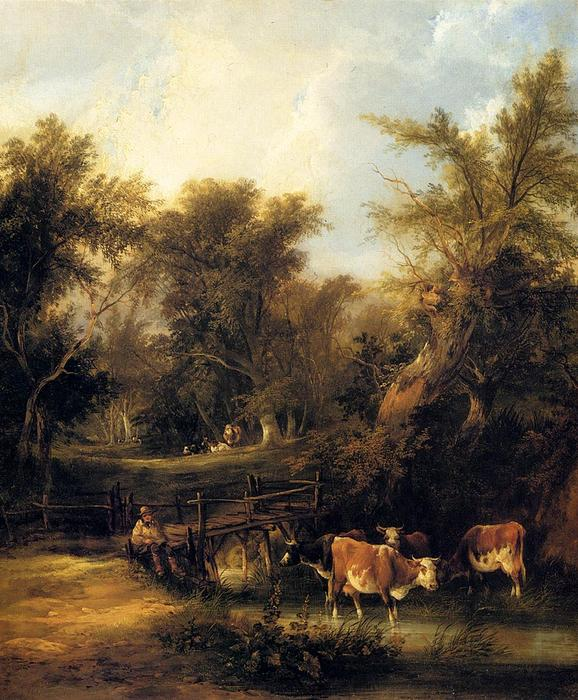 cattle` で 流れ バイ William Shayer Senior (1788-1879, United Kingdom) | 傑作コピー | WahooArt.com