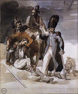 Jean-Louis André Théodore Géricault - ロシアからRetrating負傷した兵士