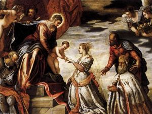 Tintoretto (Jacopo Comin) - 神秘論主義者 の結婚 セント キャサリン 詳細