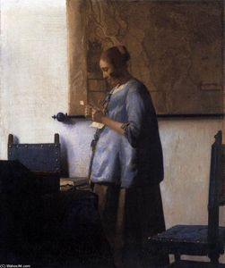 Jan Vermeer - 女性 インチ 青色 Reading a 文字