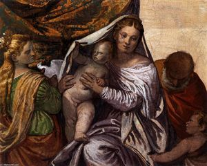 Paolo Veronese - 聖家族 セントで Catherine そして 幼児 セント ジョン