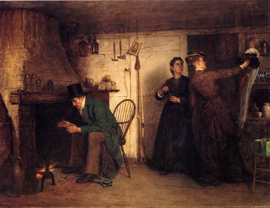 新しいボンネット, 1876 バイ Jonathan Eastman Johnson (1824-1906, United Kingdom) | WahooArt.com