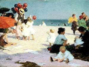 Edward Henry Potthast - 渚にて