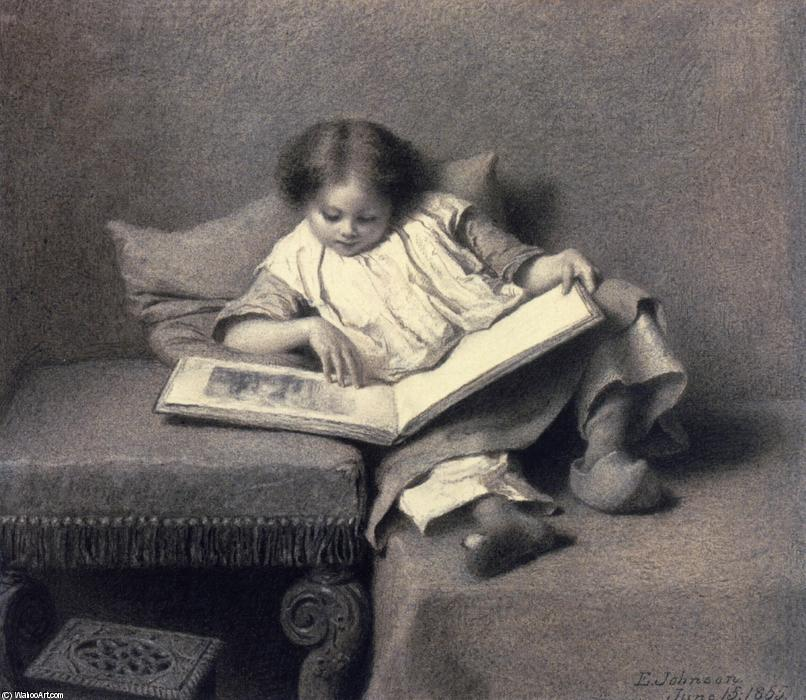 絵 本, 1855 バイ Jonathan Eastman Johnson (1824-1906, United Kingdom) | WahooArt.com