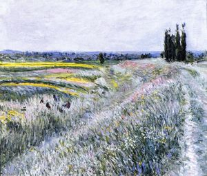 Gustave Caillebotte - ジェヌヴィリエ、ポプラのグループの平原