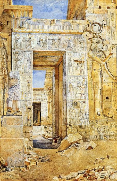 Nectanebus、フィラエのポータル, 水彩画 バイ Henry Roderick Newman (1833-1918, United States)