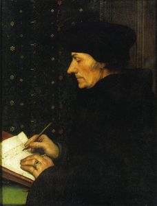 Hans Holbein The Younger - ロッテルダムライティングのエラスムスの肖像