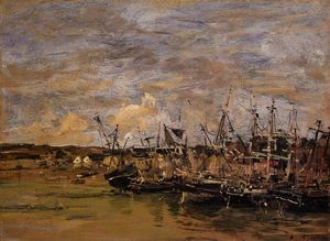 Eugène Louis Boudin - Portrieux , 釣り ボート 低で 潮