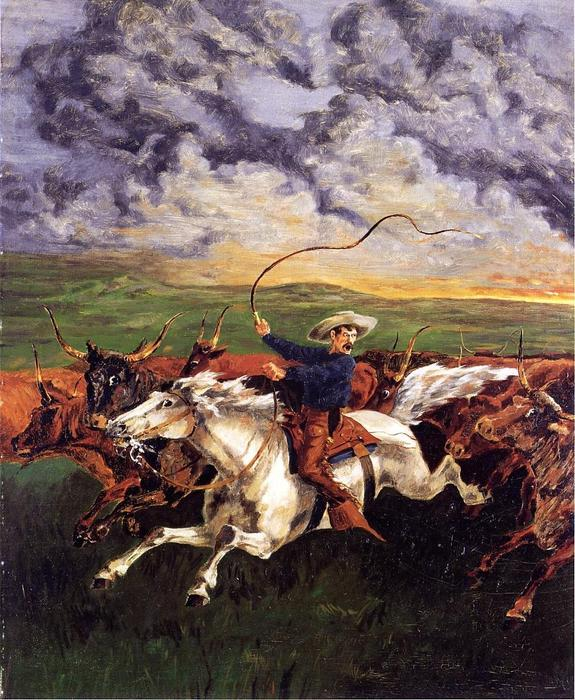 Prarie火災, 絵画 バイ Frederic Remington (1861-1909, United States)