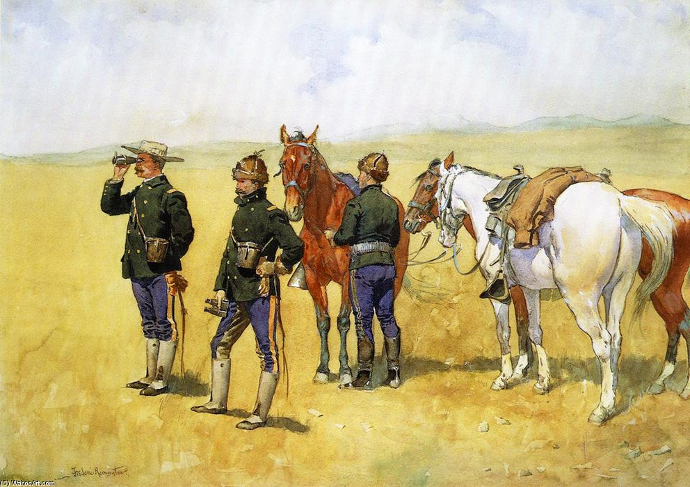 偵察隊, 水彩画 バイ Frederic Remington (1861-1909, United States)