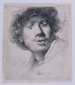 Rembrandt Van Rijn - Self 肖像画 with a キャップ , openmouthed