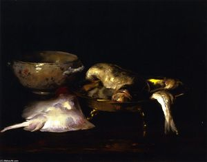 William Merritt Chase - 静物画 魚