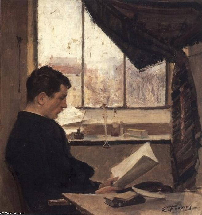 A 学生 ( また 知られている as Self-portrait ), 塗装 バイ Émile Friant (1863-1932, France)
