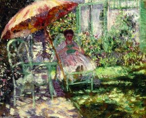 Frederick Carl Frieseke - 以下のための研究 'The 庭 Parasol'