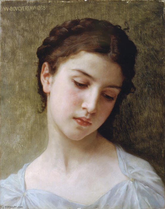 の研究 a Woman's ヘッド, 1898 バイ William Adolphe Bouguereau (1825-1905, France)