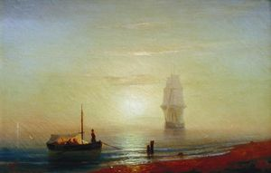 Ivan Aivazovsky - sunseat` の上に 海