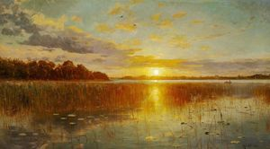 Peder Mork Monsted - Sunset over a デンマーク語 フィヨルド