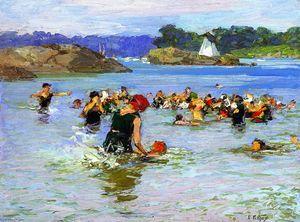 Edward Henry Potthast - 水泳レッスン