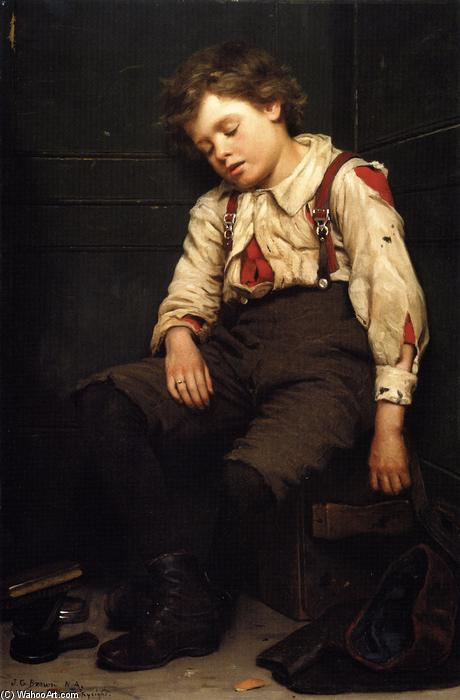 アウトTuckered, キャンバスに油彩 バイ John George Brown (1831-1913, United Kingdom)