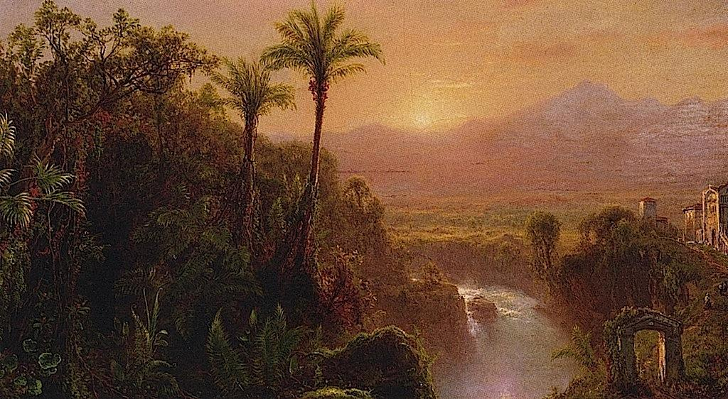 A 表示する of a コロニアル 都市 , Ecuador, キャンバスに油絵 バイ Louis Remy Mignot (1831-1870, United States)