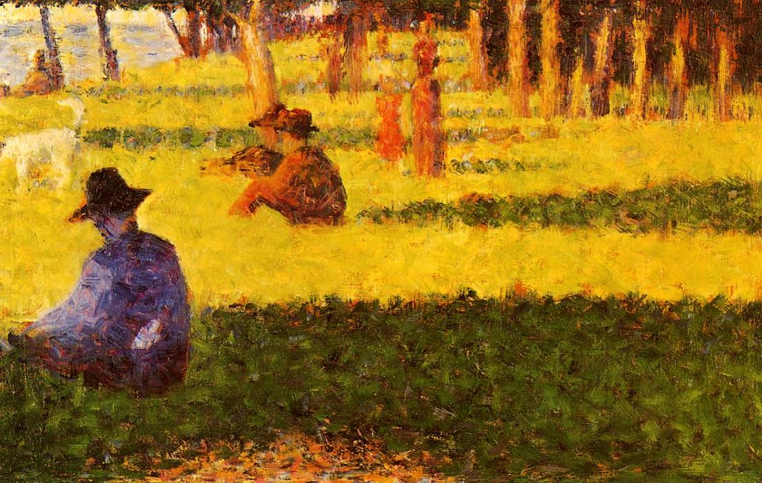 白 犬 , オイル バイ Georges Pierre Seurat (1859-1891, France)