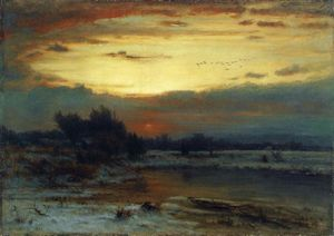George Inness - Winter , 近い of 日 ( また 知られている as A Winter 日 )