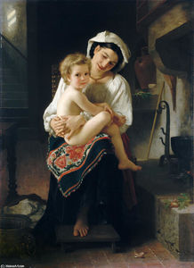 William Adolphe Bouguereau - 若い 母 見つめ  で  彼女の  子供