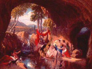 ダイアナの浴、ヴァン・ディーメンズ・ランド バイ John Glover (1767-1849, United Kingdom) | 絵画の複製 | WahooArt.com