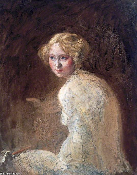頭 の 少女 バイ William Newenham Montague Orpen (1878-1931, Ireland) | 入りジクレー | WahooArt.com