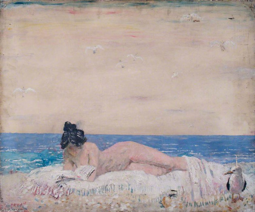 裸体 女性 モデル (読書 上の `seashore` ) バイ William Newenham Montague Orpen (1878-1931, Ireland)