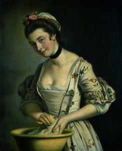 Henry Robert Morland - A Lady's メイド ソーピング リンネル -