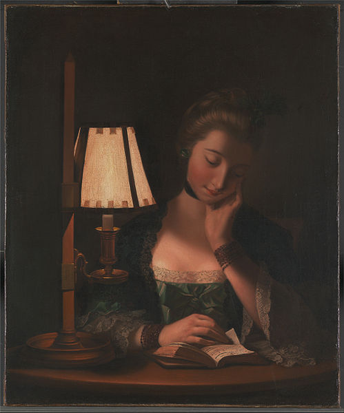 女性 読書 で Paper-bell シェード バイ Henry Robert Morland (1716-1797, United Kingdom)