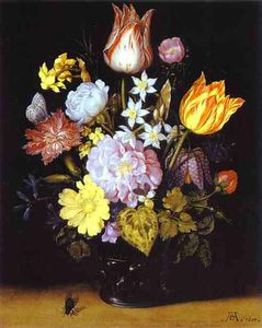 Ambrosius Bosschaert The Younger - 花 には ガラス 花瓶