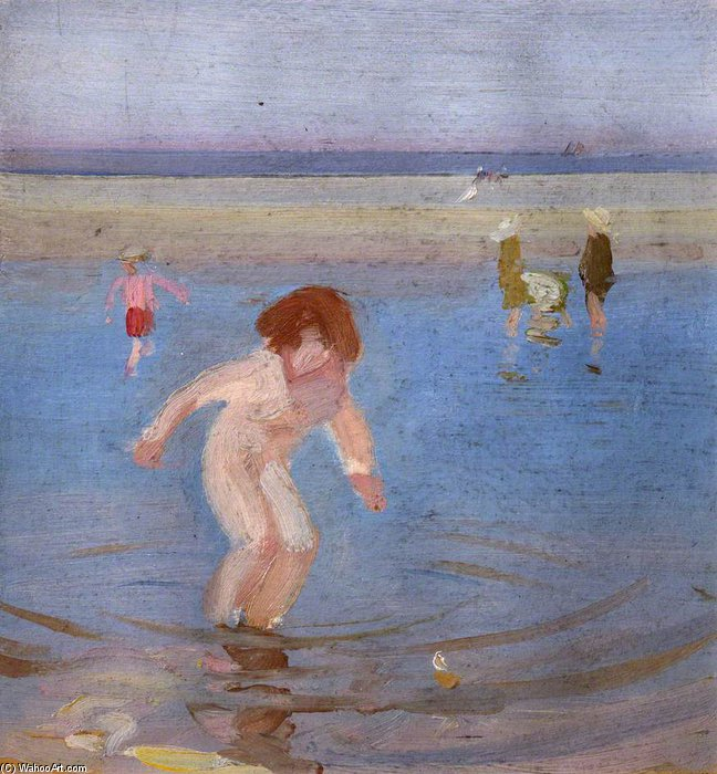 子供 水浴び バイ Charles Henry Sims (1873-1928, United Kingdom)