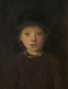 Edward William Stott - の研究 a `girl-s` 頭