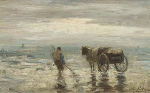 Evert Pieters - A Shell-fisher 上の ビーチ