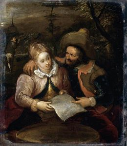 Frans Iii Francken - A Young 女性と A Cavalier 保有の A 文字