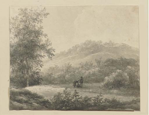 a `hilly` 風景 と一緒に 統計 バイ Andreas Schelfhout (1787-1870, Netherlands) | WahooArt.com