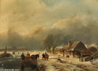 A 冬 landscape ととも​​に Horse-drawn aオン・スレッジ 冷凍 水路 バイ Andreas Schelfhout (1787-1870, Netherlands) | WahooArt.com