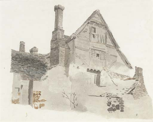 の研究 A Timber-framed 切妻 農家 バイ Cornelius Varley (1781-1873, United Kingdom) | 入りジクレー | WahooArt.com